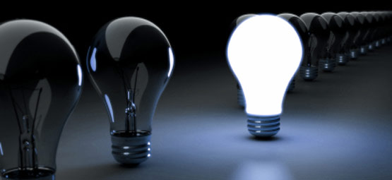 Light bulbs representing intellectual property in ideas, creations and concepts